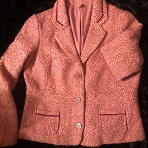 Classy pink lined tweed style women's blazer